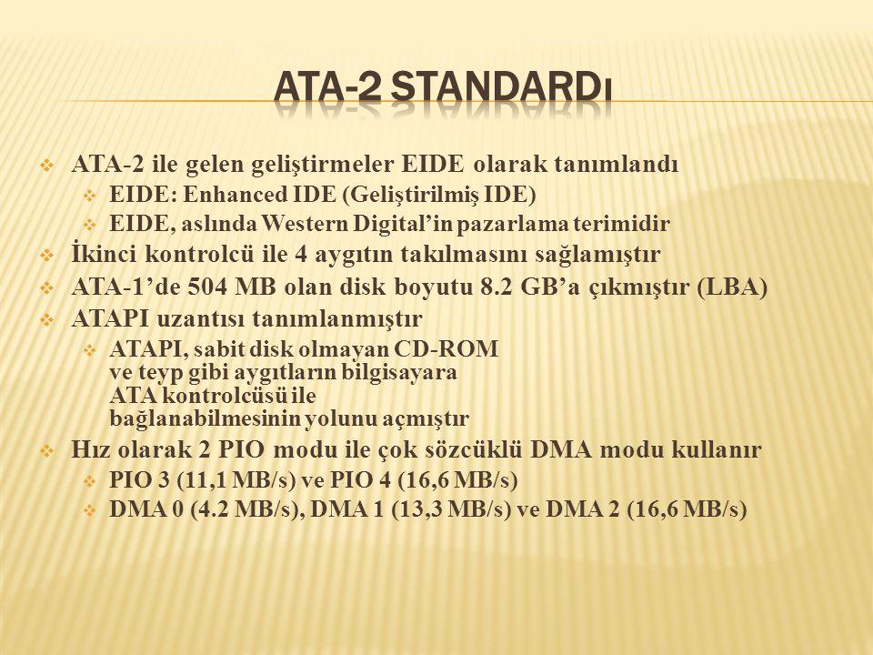  ATA-2 ile gelen geliştirmeler EIDE olarak tanımlandı  EIDE: Enhanced IDE (Geliştirilmiş IDE)  EIDE, aslında Western Digital'in pazarlama terimidir