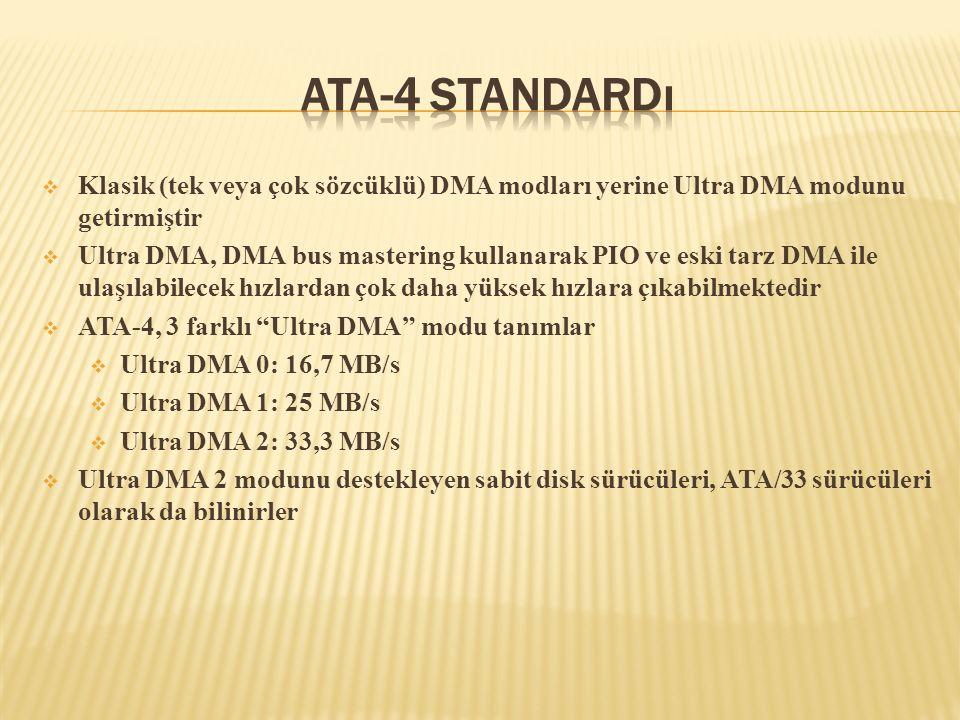  Klasik (tek veya çok sözcüklü) DMA modları yerine Ultra DMA modunu getirmiştir  Ultra DMA, DMA bus mastering kullanarak PIO ve eski tarz DMA ile ul