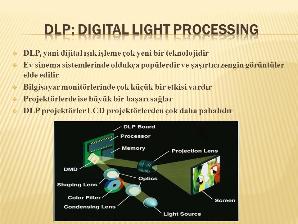  DLP, yani dijital ışık işleme çok yeni bir teknolojidir  Ev sinema sistemlerinde oldukça popülerdir ve şaşırtıcı zengin görüntüler elde edilir  Bi