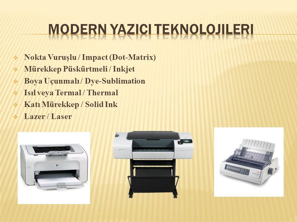  Nokta Vuruşlu / Impact (Dot-Matrix)  Mürekkep Püskürtmeli / Inkjet  Boya Uçunmalı / Dye-Sublimation  Isıl veya Termal / Thermal  Katı Mürekkep /