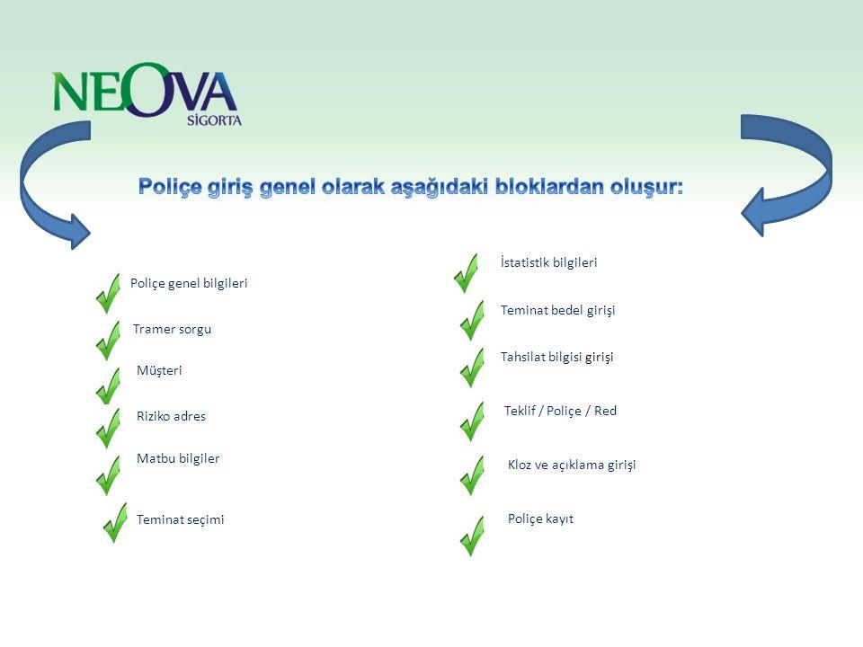 POLİÇE BİLGİLERİ Bütün ürünlerde poliçe tanzim ederken poliçe genel bilgilerinin girildiği ortak alandır.