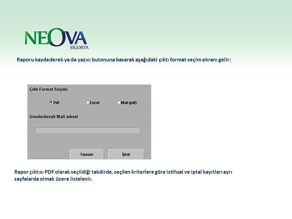 Raporu kaydederek ya da yazıcı butonuna basarak aşağıdaki çıktı format seçim ekranı gelir: Rapor çıktısı PDF olarak seçildiği takdirde, seçilen kriter