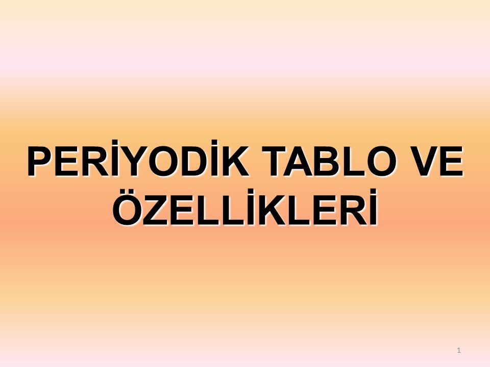1 PERİYODİK TABLO VE ÖZELLİKLERİ