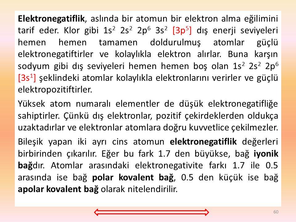 Elektronegatiflik, aslında bir atomun bir elektron alma eğilimini tarif eder.