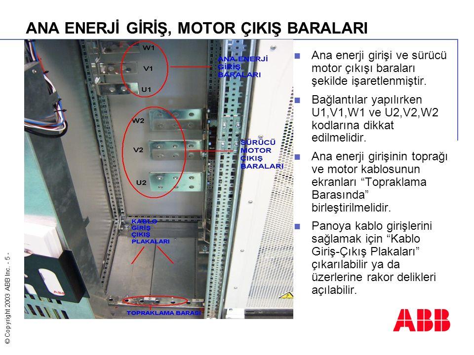 © Copyright 2003 ABB Inc. - 5 - ANA ENERJİ GİRİŞ, MOTOR ÇIKIŞ BARALARI Ana enerji girişi ve sürücü motor çıkışı baraları şekilde işaretlenmiştir. Bağl