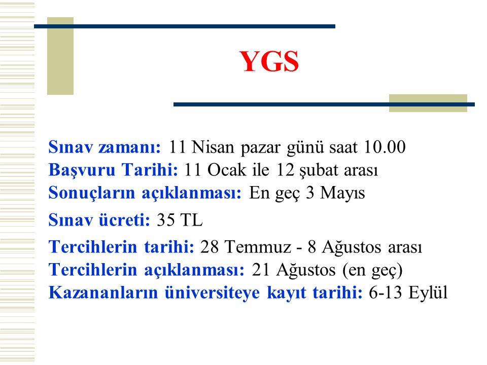 YGS Sınav zamanı: 11 Nisan pazar günü saat 10.00 Başvuru Tarihi: 11 Ocak ile 12 şubat arası Sonuçların açıklanması: En geç 3 Mayıs Sınav ücreti: 35 TL Tercihlerin tarihi: 28 Temmuz - 8 Ağustos arası Tercihlerin açıklanması: 21 Ağustos (en geç) Kazananların üniversiteye kayıt tarihi: 6-13 Eylül