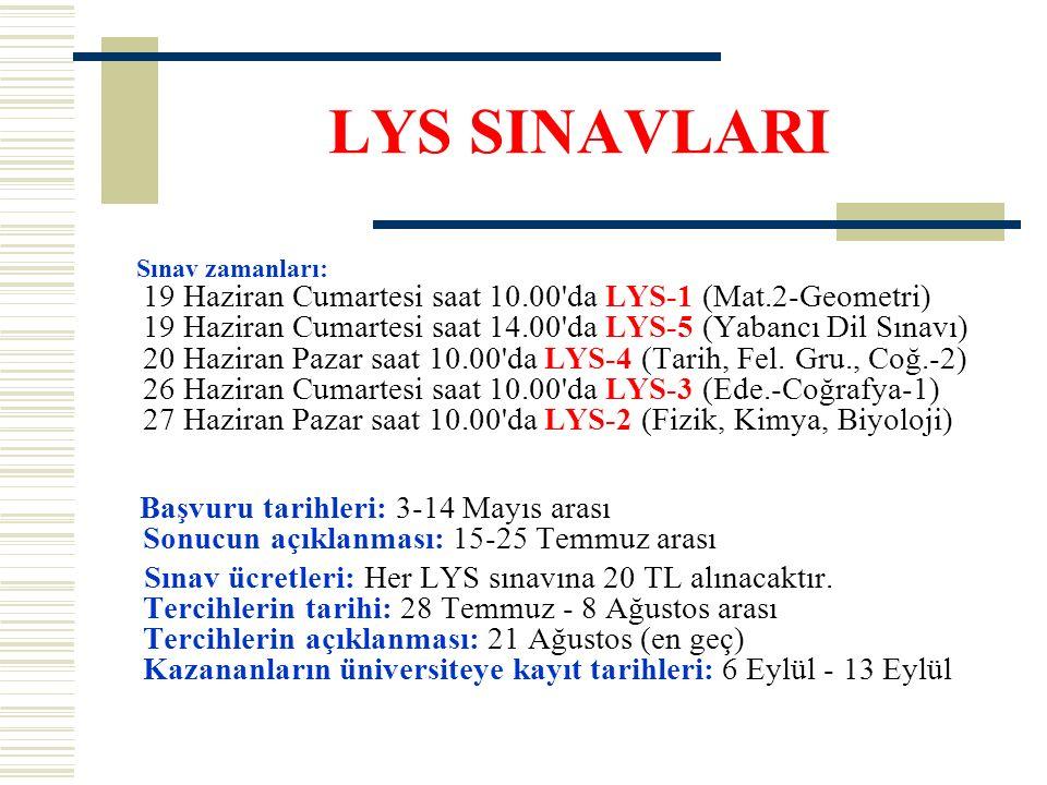 LYS SINAVLARI Sınav zamanları: 19 Haziran Cumartesi saat 10.00 da LYS-1 (Mat.2-Geometri) 19 Haziran Cumartesi saat 14.00 da LYS-5 (Yabancı Dil Sınavı) 20 Haziran Pazar saat 10.00 da LYS-4 (Tarih, Fel.