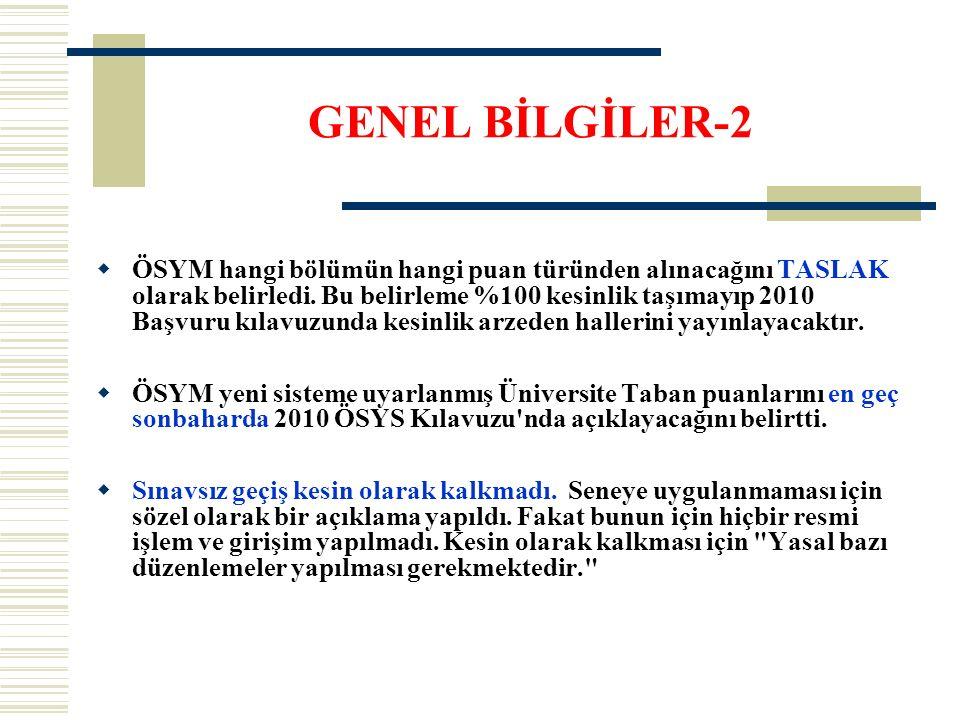 GENEL BİLGİLER-2  ÖSYM hangi bölümün hangi puan türünden alınacağını TASLAK olarak belirledi.