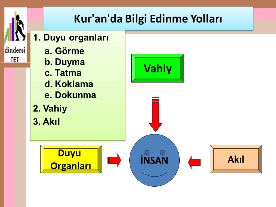 Kur'an'da Bilgi Edinme Yolları 1.Duyu organları a.Görme b.Duyma c.Tatma d.Koklama e.Dokunma 2. Vahiy 3. Akıl 1.Duyu organları a.Görme b.Duyma c.Tatma