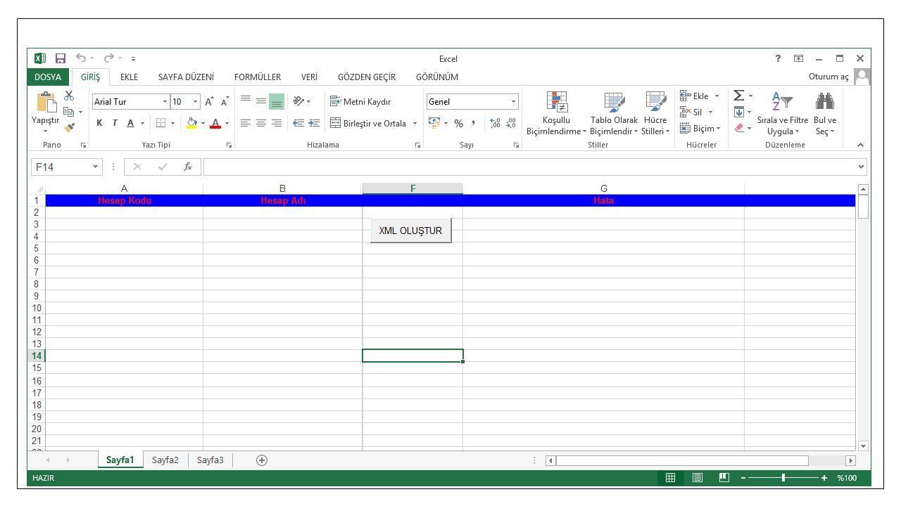 Hesap Planı XML Oluşturma Ve Excel ara yüzümüz karşımıza geliyor. 29