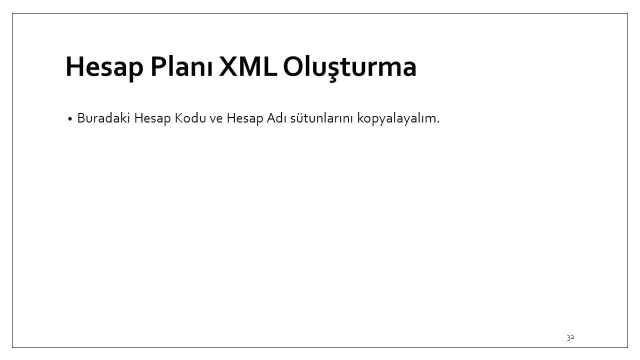 Hesap Planı XML Oluşturma Buradaki Hesap Kodu ve Hesap Adı sütunlarını kopyalayalım. 32
