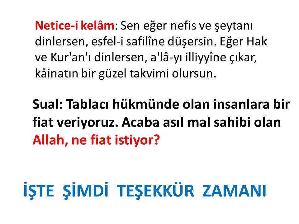 Netice-i kelâm: Sen eğer nefis ve şeytanı dinlersen, esfel-i safilîne düşersin. Eğer Hak ve Kur'an'ı dinlersen, a'lâ-yı illiyyîne çıkar, kâinatın bir