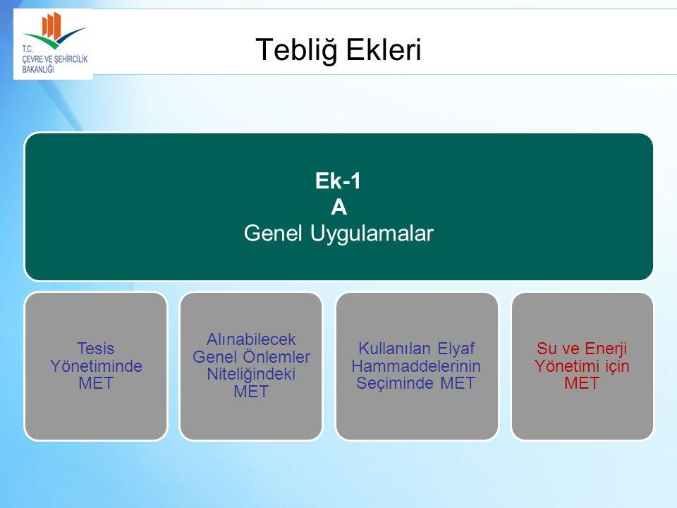 Tebliğ Ekleri Ek-1 A Genel Uygulamalar Tesis Yönetiminde MET Alınabilecek Genel Önlemler Niteliğindeki MET Kullanılan Elyaf Hammaddelerinin Seçiminde