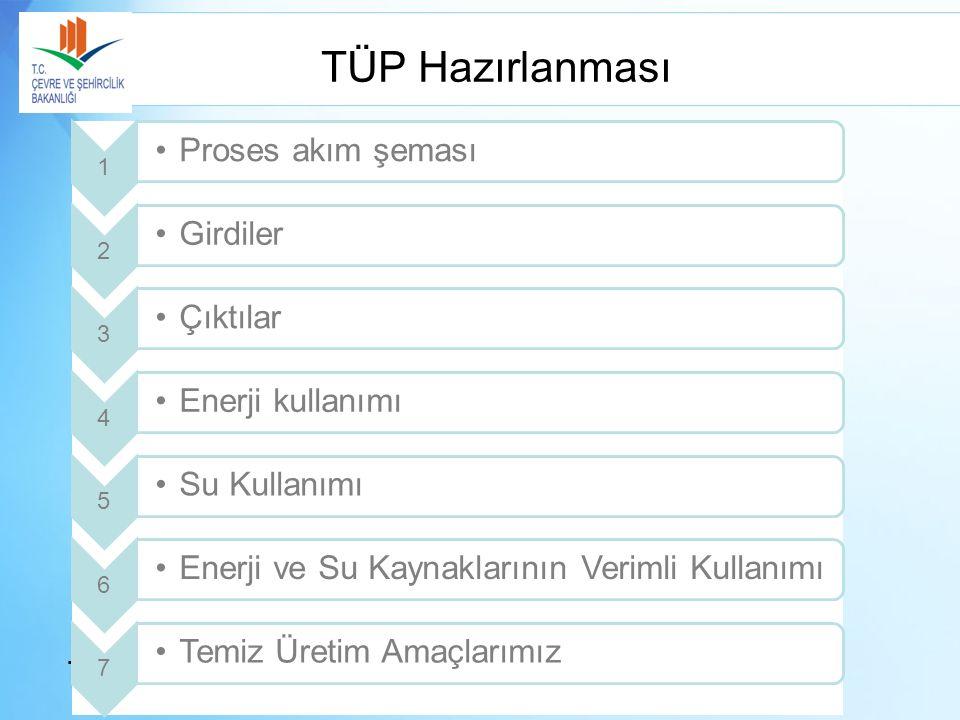 TÜP Hazırlanması TEKSTİL SEKTÖRÜNDE TEMİZ ÜRETİM SEMPOZYUMU 28-30 Mart 2012, Antalya 1 Proses akım şeması 2 Girdiler 3 Çıktılar 4 Enerji kullanımı 5 S
