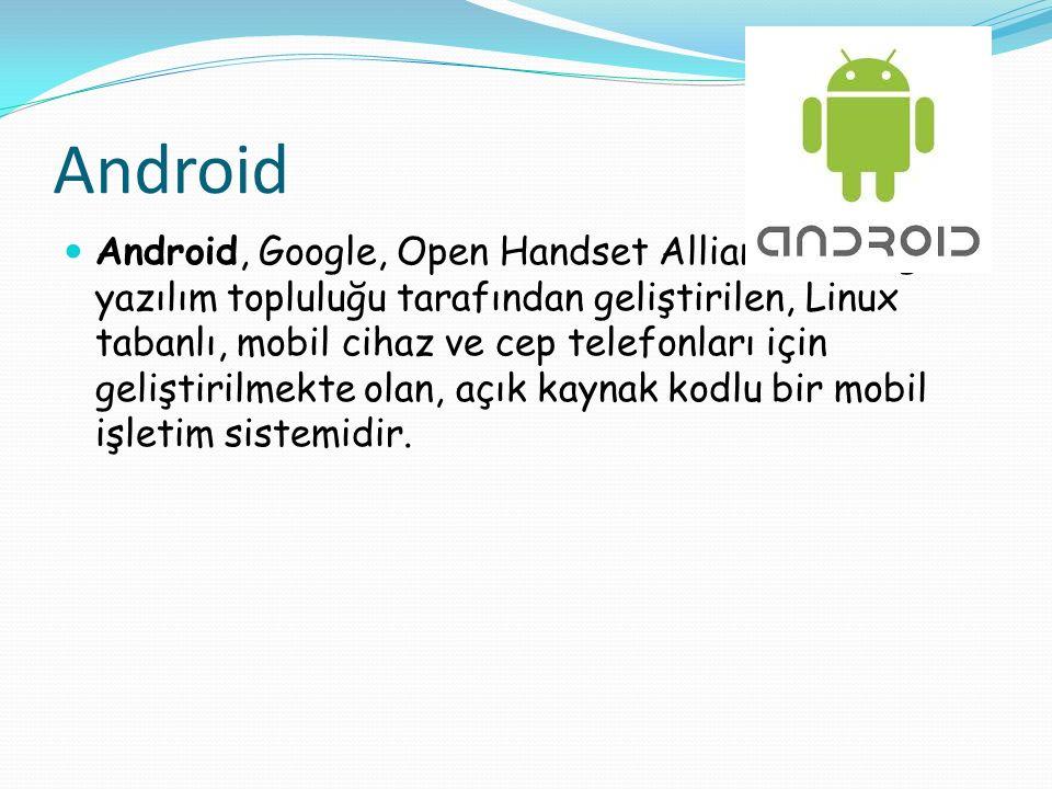 Android Android, Google, Open Handset Alliance ve özgür yazılım topluluğu tarafından geliştirilen, Linux tabanlı, mobil cihaz ve cep telefonları için geliştirilmekte olan, açık kaynak kodlu bir mobil işletim sistemidir.