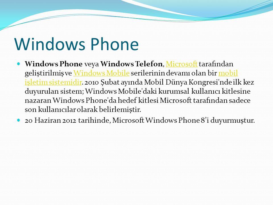 Windows Phone Windows Phone veya Windows Telefon, Microsoft tarafından geliştirilmiş ve Windows Mobile serilerinin devamı olan bir mobil işletim sistemidir.