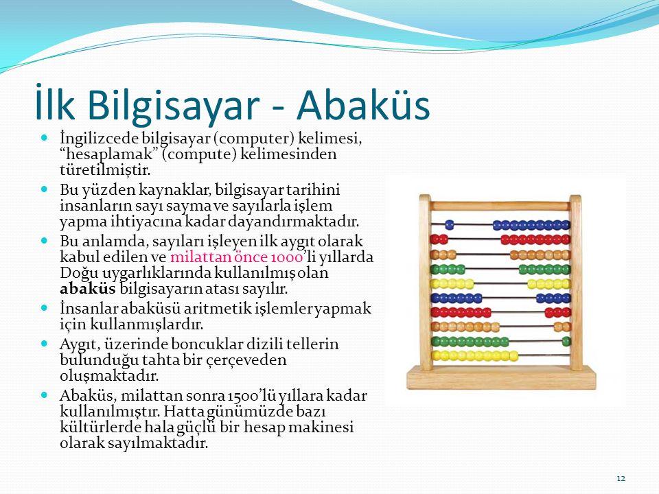 12 İlk Bilgisayar - Abaküs İngilizcede bilgisayar (computer) kelimesi, hesaplamak (compute) kelimesinden türetilmiştir.