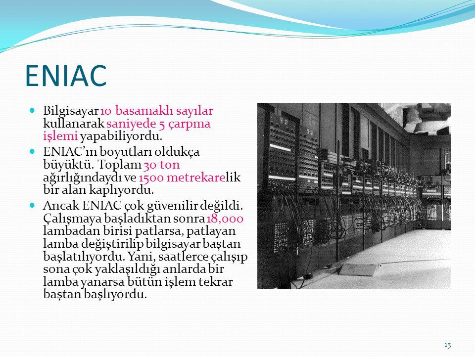 15 ENIAC Bilgisayar 10 basamaklı sayılar kullanarak saniyede 5 çarpma işlemi yapabiliyordu.
