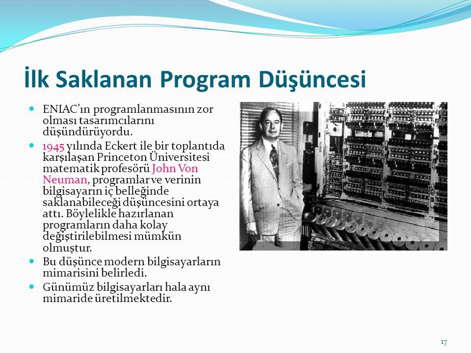 17 İlk Saklanan Program Düşüncesi ENIAC'ın programlanmasının zor olması tasarımcılarını düşündürüyordu.
