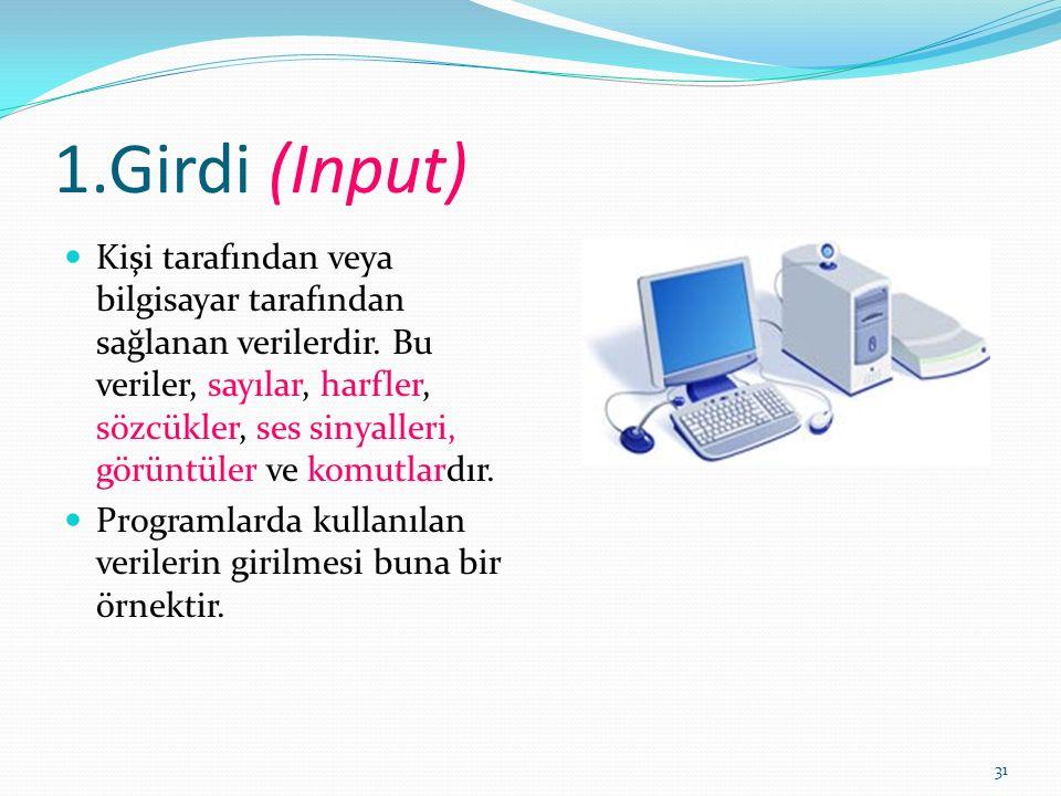 31 1.Girdi (Input) Kişi tarafından veya bilgisayar tarafından sağlanan verilerdir.