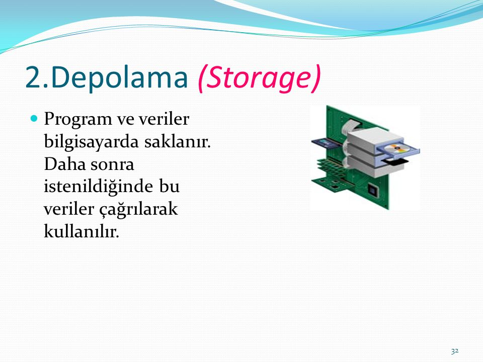 32 2.Depolama (Storage) Program ve veriler bilgisayarda saklanır.
