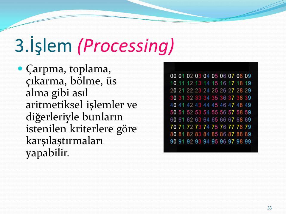 33 3.İşlem (Processing) Çarpma, toplama, çıkarma, bölme, üs alma gibi asıl aritmetiksel işlemler ve diğerleriyle bunların istenilen kriterlere göre karşılaştırmaları yapabilir.