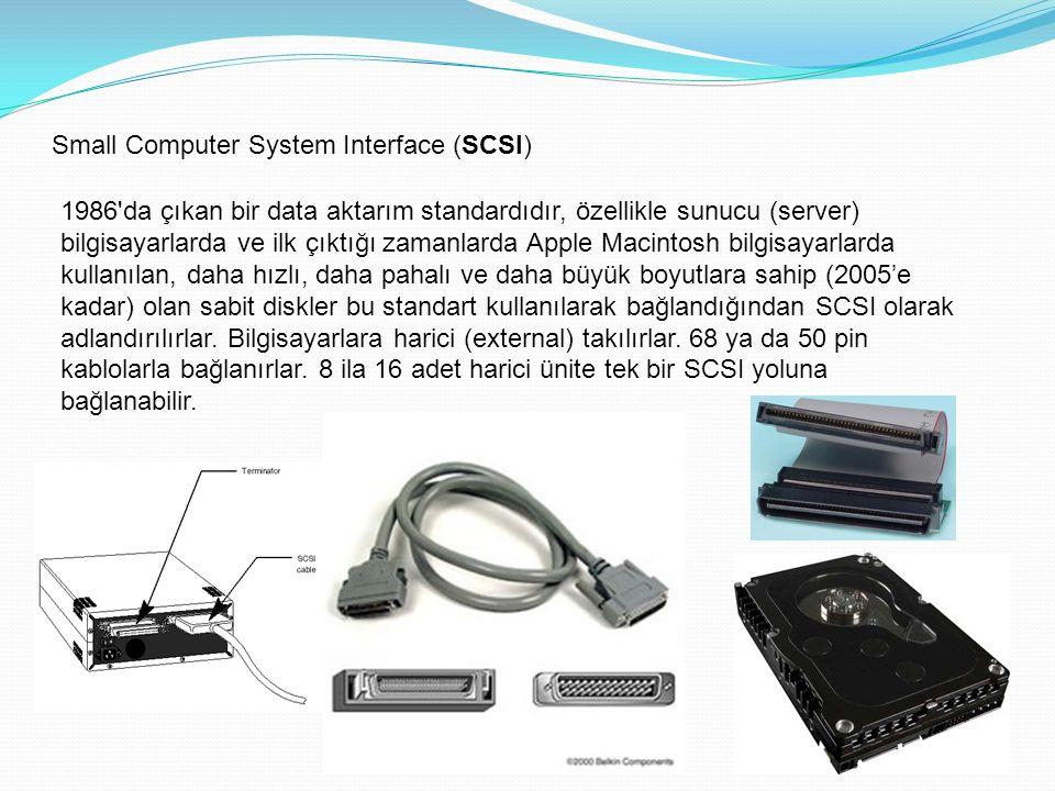 Small Computer System Interface (SCSI) 1986 da çıkan bir data aktarım standardıdır, özellikle sunucu (server) bilgisayarlarda ve ilk çıktığı zamanlarda Apple Macintosh bilgisayarlarda kullanılan, daha hızlı, daha pahalı ve daha büyük boyutlara sahip (2005'e kadar) olan sabit diskler bu standart kullanılarak bağlandığından SCSI olarak adlandırılırlar.