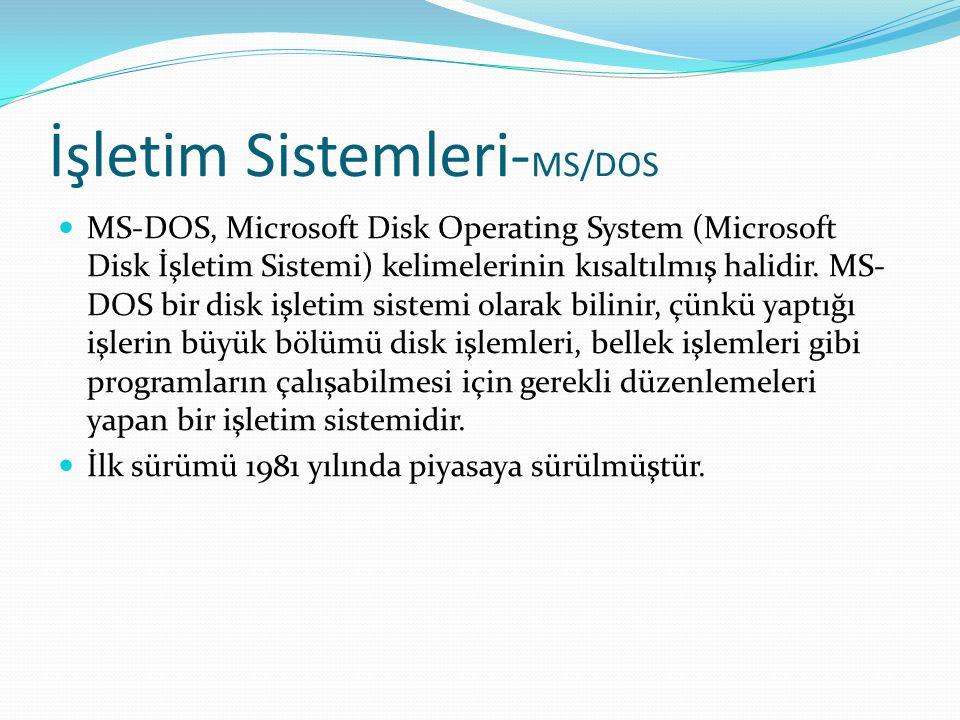 İşletim Sistemleri- MS/DOS MS-DOS, Microsoft Disk Operating System (Microsoft Disk İşletim Sistemi) kelimelerinin kısaltılmış halidir.