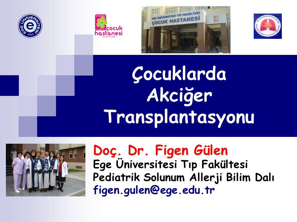 Çocuklarda Akciğer Transplantasyonu Doç. Dr. Figen Gülen Ege Üniversitesi Tıp Fakültesi Pediatrik Solunum Allerji Bilim Dalı figen.gulen@ege.edu.tr