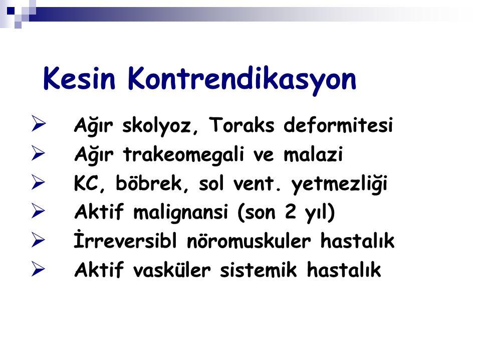 Kesin Kontrendikasyon  Ağır skolyoz, Toraks deformitesi  Ağır trakeomegali ve malazi  KC, böbrek, sol vent. yetmezliği  Aktif malignansi (son 2 yı