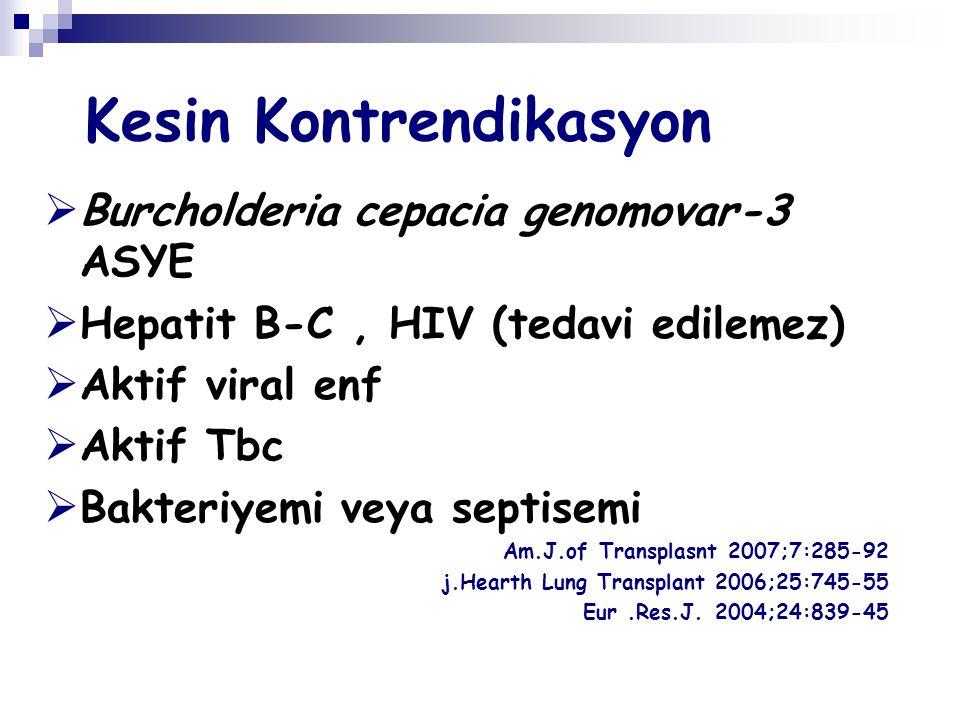 Kesin Kontrendikasyon  Burcholderia cepacia genomovar-3 ASYE  Hepatit B-C, HIV (tedavi edilemez)  Aktif viral enf  Aktif Tbc  Bakteriyemi veya septisemi Am.J.of Transplasnt 2007;7:285-92 j.Hearth Lung Transplant 2006;25:745-55 Eur.Res.J.