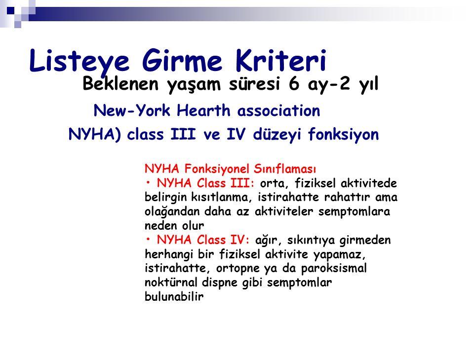 Listeye Girme Kriteri Beklenen yaşam süresi 6 ay-2 yıl New-York Hearth association NYHA) class III ve IV düzeyi fonksiyon NYHA Fonksiyonel Sınıflaması