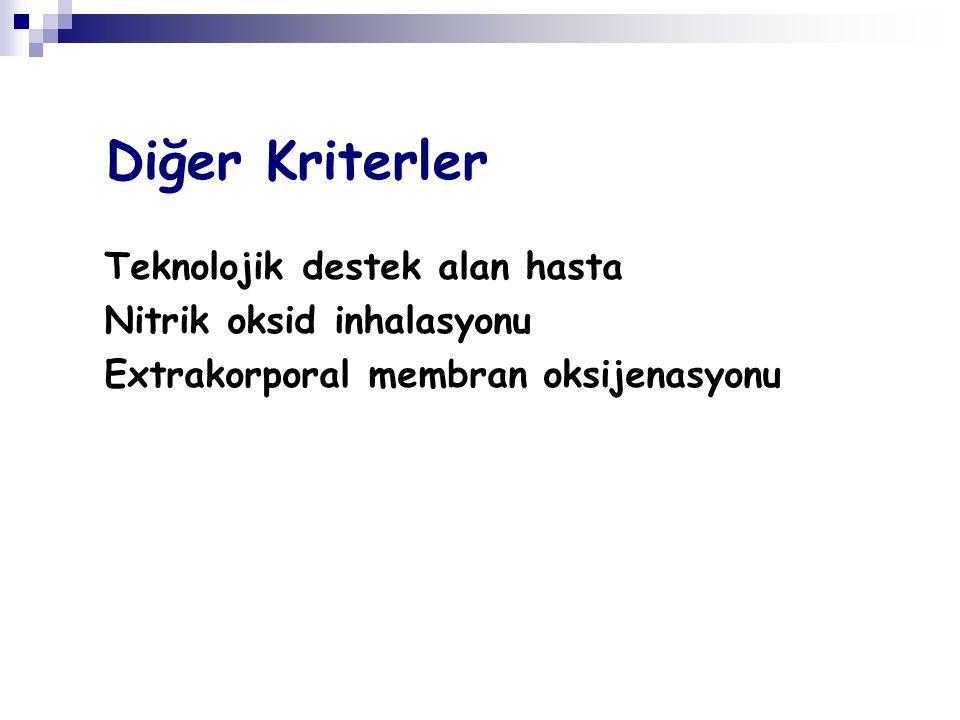 Diğer Kriterler Teknolojik destek alan hasta Nitrik oksid inhalasyonu Extrakorporal membran oksijenasyonu