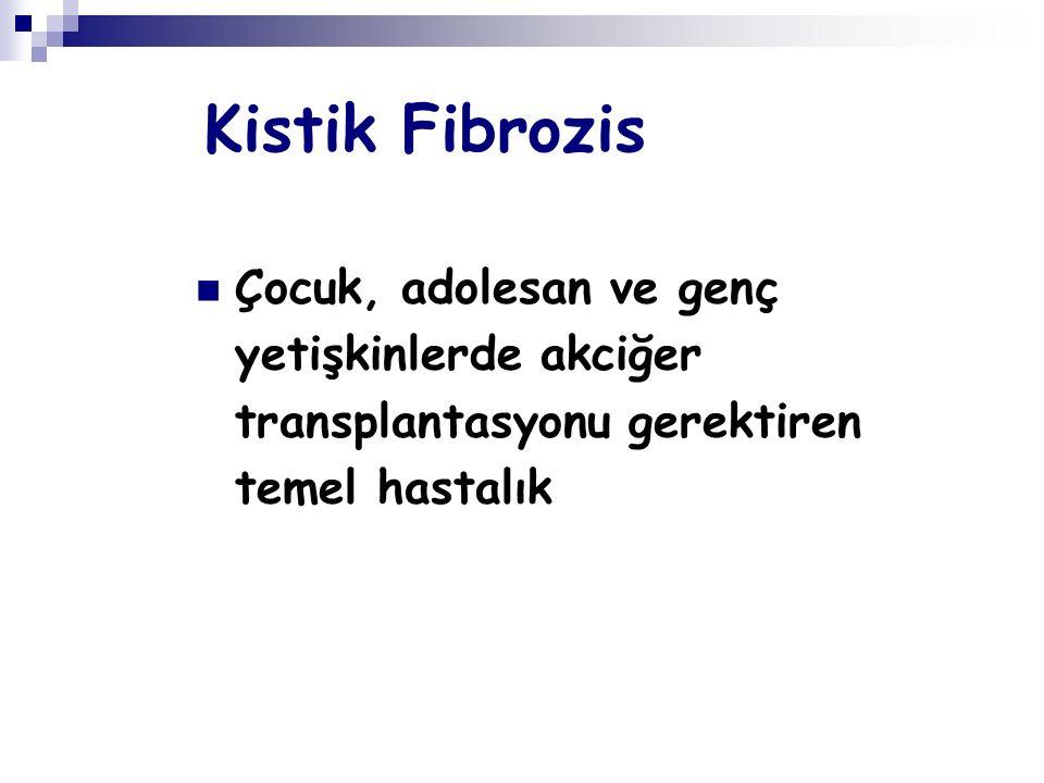 Kistik Fibrozis Çocuk, adolesan ve genç yetişkinlerde akciğer transplantasyonu gerektiren temel hastalık