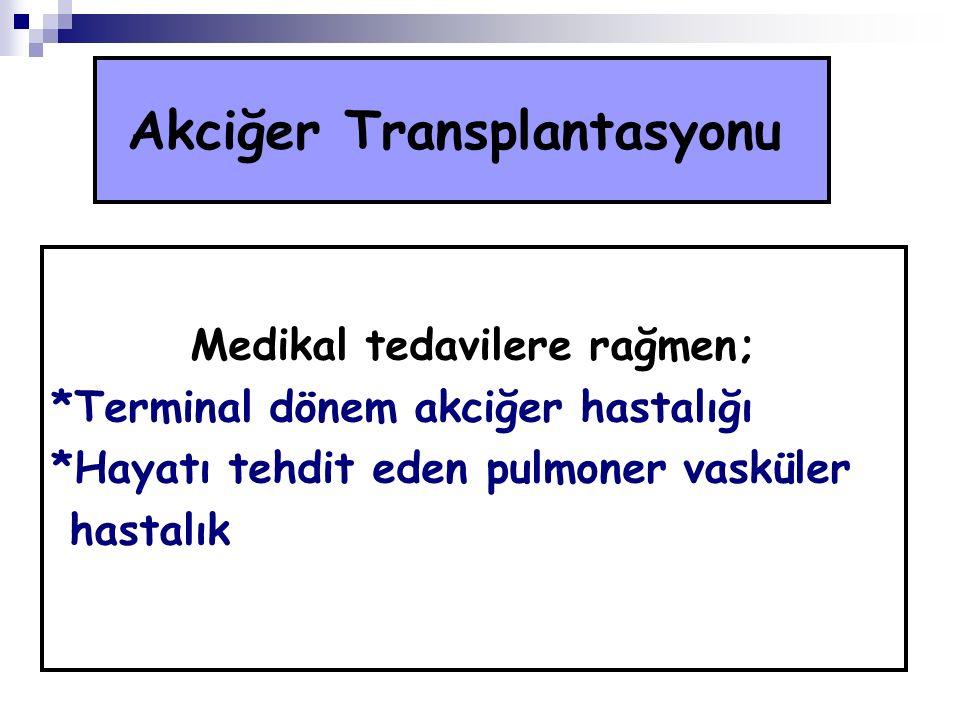 Akciğer Transplantasyonu Medikal tedavilere rağmen; *Terminal dönem akciğer hastalığı *Hayatı tehdit eden pulmoner vasküler hastalık
