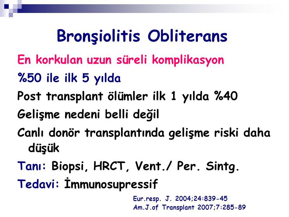 Bronşiolitis Obliterans En korkulan uzun süreli komplikasyon %50 ile ilk 5 yılda Post transplant ölümler ilk 1 yılda %40 Gelişme nedeni belli değil Canlı donör transplantında gelişme riski daha düşük Tanı: Biopsi, HRCT, Vent./ Per.
