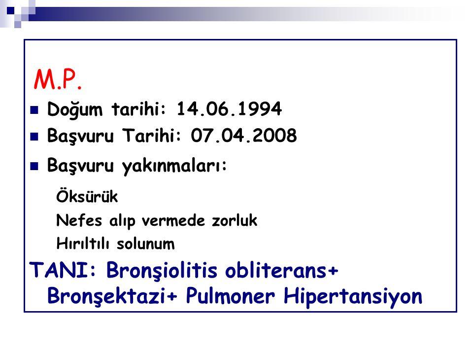M.P. Doğum tarihi: 14.06.1994 Başvuru Tarihi: 07.04.2008 Başvuru yakınmaları: Öksürük Nefes alıp vermede zorluk Hırıltılı solunum TANI: Bronşiolitis o