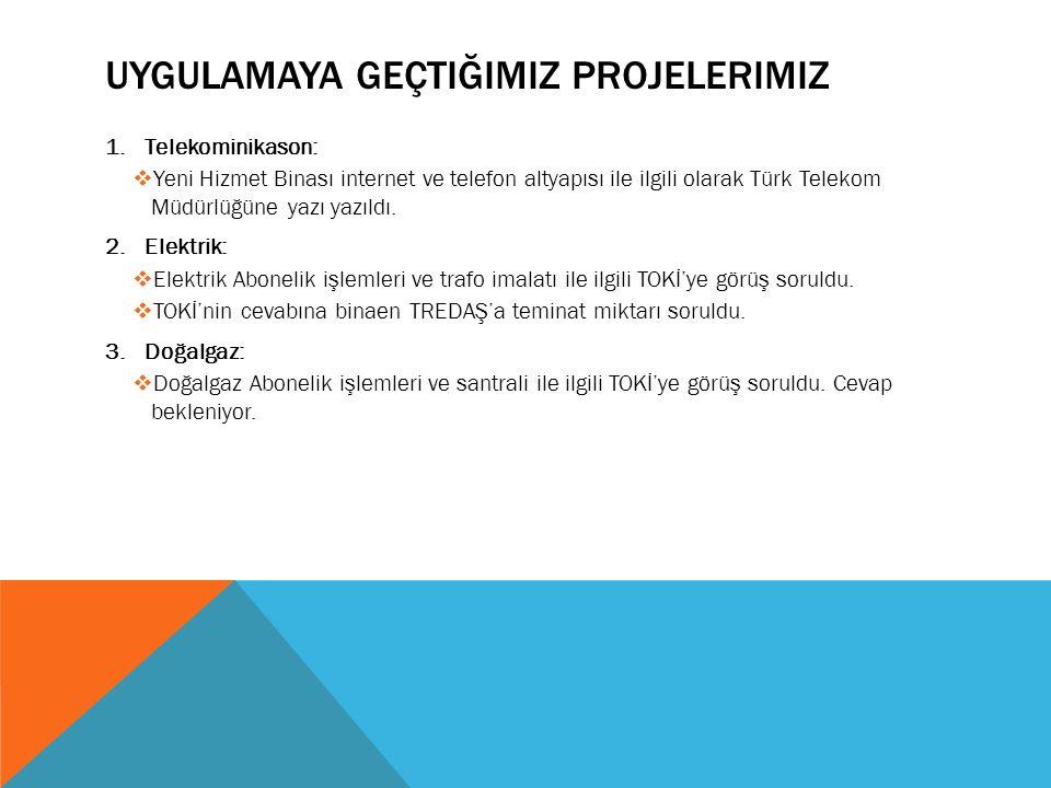 UYGULAMAYA GEÇTIĞIMIZ PROJELERIMIZ 1.Telekominikason:  Yeni Hizmet Binası internet ve telefon altyapısı ile ilgili olarak Türk Telekom Müdürlüğüne ya