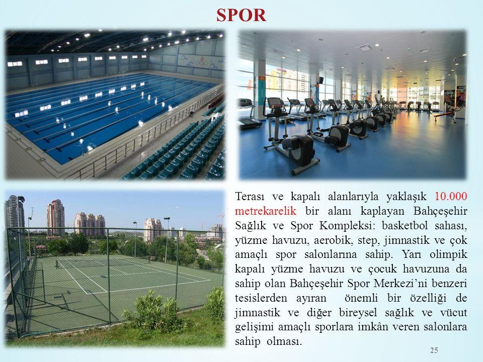 Terası ve kapalı alanlarıyla yaklaşık 10.000 metrekarelik bir alanı kaplayan Bahçeşehir Sağlık ve Spor Kompleksi: basketbol sahası, yüzme havuzu, aero