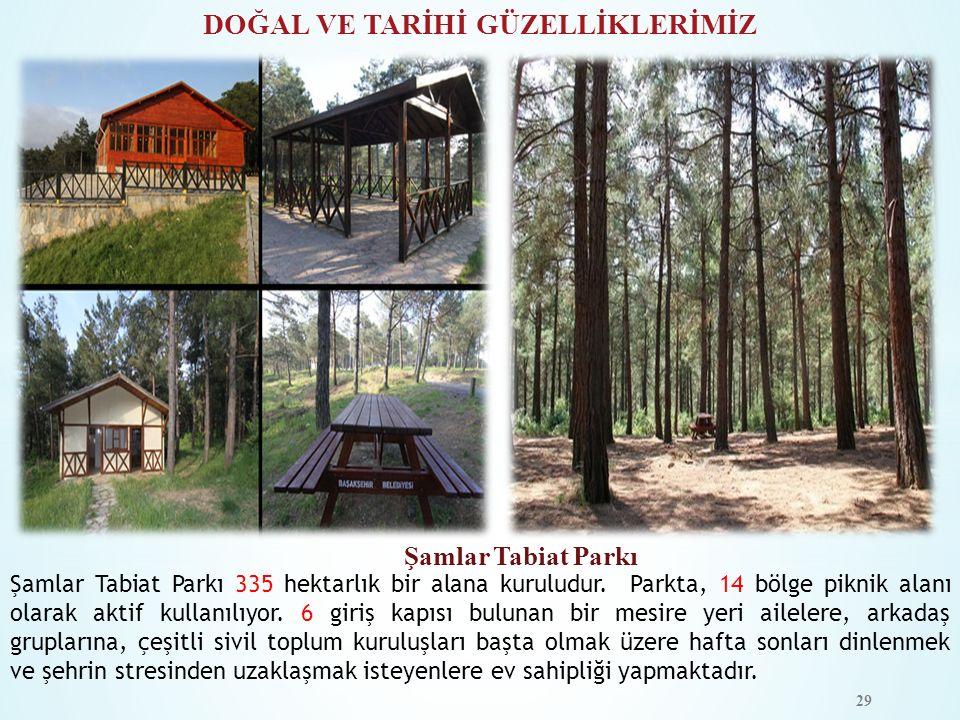DOĞAL VE TARİHİ GÜZELLİKLERİMİZ Şamlar Tabiat Parkı Şamlar Tabiat Parkı 335 hektarlık bir alana kuruludur. Parkta, 14 bölge piknik alanı olarak aktif