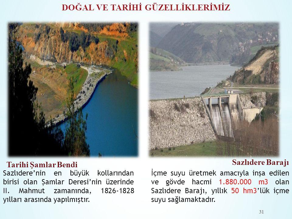 DOĞAL VE TARİHİ GÜZELLİKLERİMİZ Tarihi Şamlar Bendi Sazlıdere Barajı Sazlıdere'nin en büyük kollarından birisi olan Şamlar Deresi'nin üzerinde II. Mah
