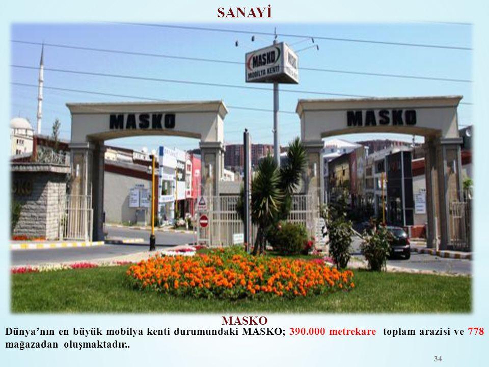 MASKO Dünya'nın en büyük mobilya kenti durumundaki MASKO; 390.000 metrekare toplam arazisi ve 778 mağazadan oluşmaktadır.. SANAYİ 34