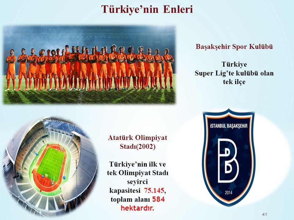 41 Atatürk Olimpiyat Stadı(2002) Türkiye'nin ilk ve tek Olimpiyat Stadı seyirci kapasitesi 75.145, toplam alanı 584 hektardır. Başakşehir Spor Kulübü