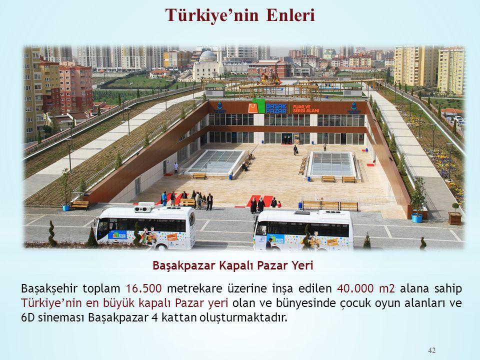 42 Başakşehir toplam 16.500 metrekare üzerine inşa edilen 40.000 m2 alana sahip Türkiye'nin en büyük kapalı Pazar yeri olan ve bünyesinde çocuk oyun a