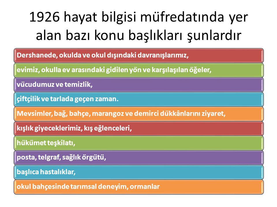 1926 hayat bilgisi müfredatında yer alan bazı konu başlıkları şunlardır Dershanede, okulda ve okul dışındaki davranışlarımız, evimiz, okulla ev arası