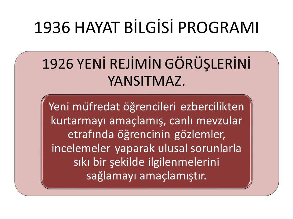 1936 HAYAT BİLGİSİ PROGRAMI 1926 YENİ REJİMİN GÖRÜŞLERİNİ YANSITMAZ. Yeni müfredat öğrencileri ezbercilikten kurtarmayı amaçlamış, canlı mevzular e