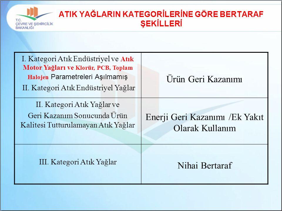 ATIK YAĞLARIN KATEGORİLERİNE GÖRE BERTARAF ŞEKİLLERİ I.