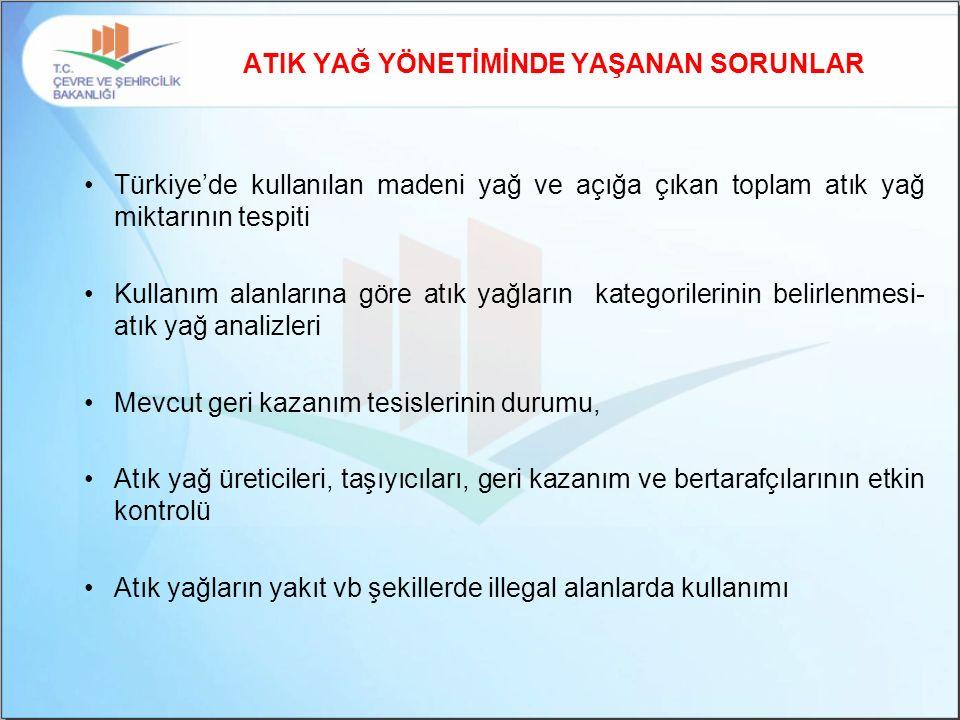 ATIK YAĞ YÖNETİMİNDE YAŞANAN SORUNLAR Türkiye'de kullanılan madeni yağ ve açığa çıkan toplam atık yağ miktarının tespiti Kullanım alanlarına göre atık yağların kategorilerinin belirlenmesi- atık yağ analizleri Mevcut geri kazanım tesislerinin durumu, Atık yağ üreticileri, taşıyıcıları, geri kazanım ve bertarafçılarının etkin kontrolü Atık yağların yakıt vb şekillerde illegal alanlarda kullanımı