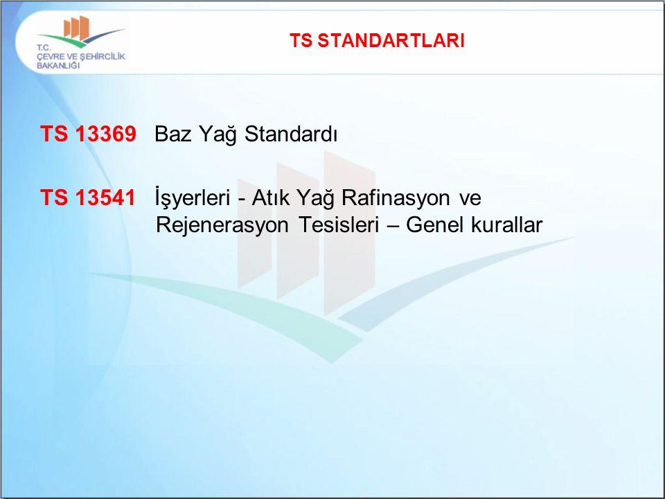 TS STANDARTLARI TS 13369 Baz Yağ Standardı TS 13541 İşyerleri - Atık Yağ Rafinasyon ve Rejenerasyon Tesisleri – Genel kurallar