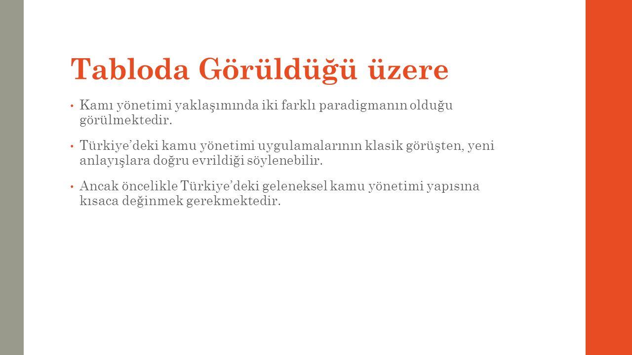 Tabloda Görüldüğü üzere Kamı yönetimi yaklaşımında iki farklı paradigmanın olduğu görülmektedir. Türkiye'deki kamu yönetimi uygulamalarının klasik gör